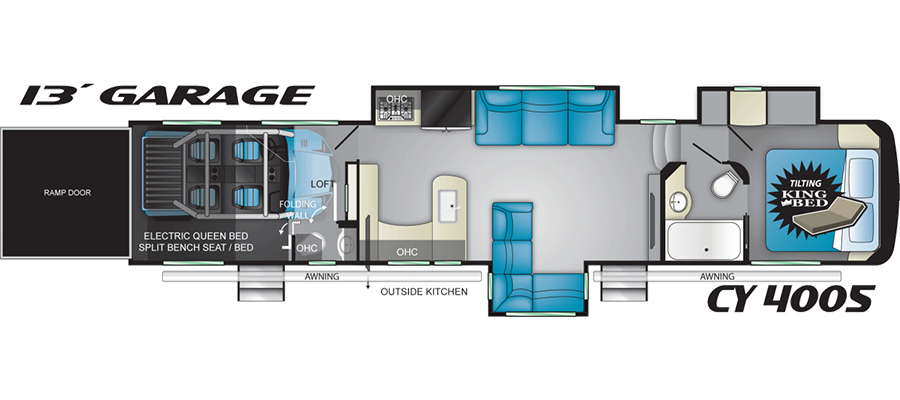 Click here to see the New 2018 Cyclone 4005 Toy Hauler Fifth Wheel by Heartland RV at RVWholesalers.com