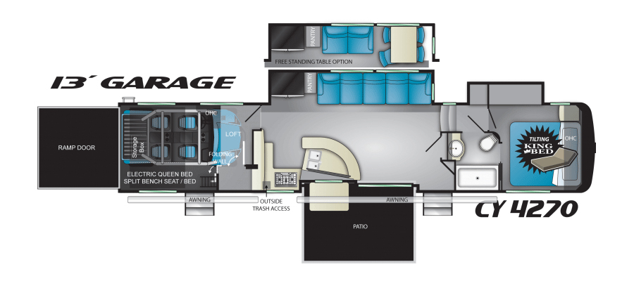 Click here to see the New 2018 Cyclone 4270 Toy Hauler Fifth Wheel by Heartland RV at RVWholesalers.com