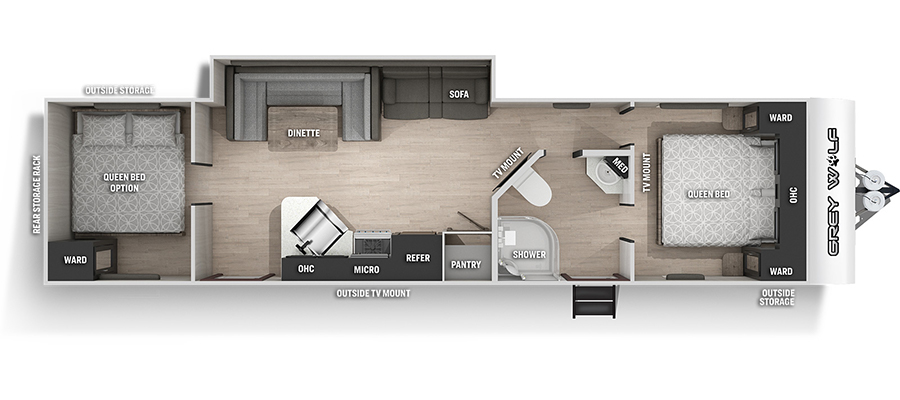 2022 Forest River Grey Wolf 29QB Travel Trailer: image 1