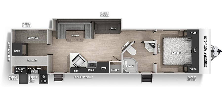 2022 Forest River Grey Wolf 29TE Travel Trailer: image 1