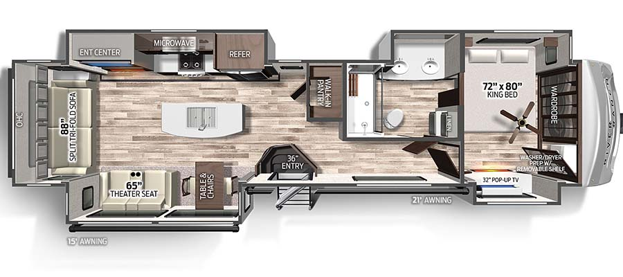 Columbus River Ranch 390RL floorplan image