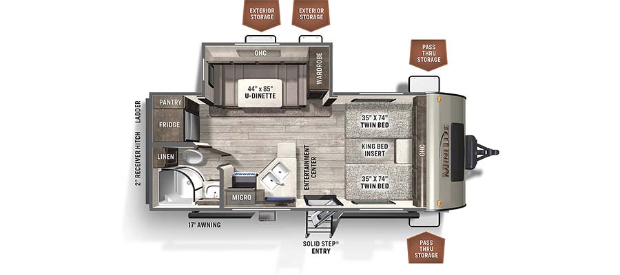 Rockwood Mini Lite 2204S floorplan image