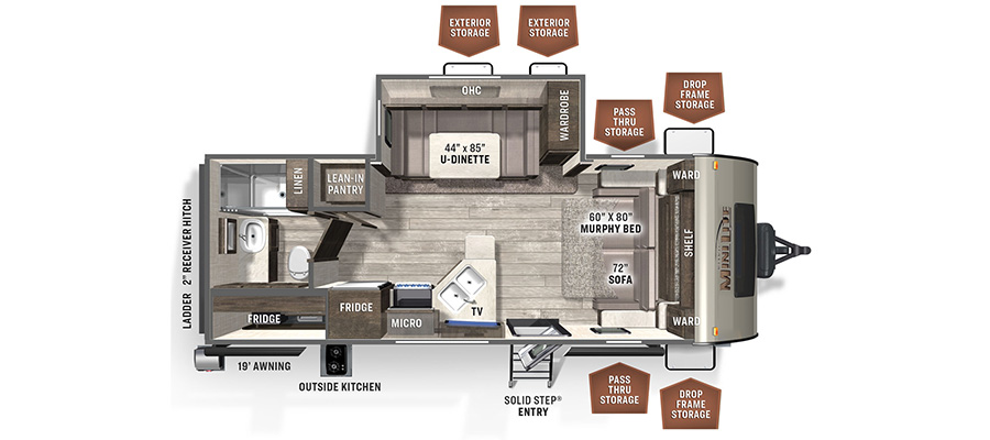 Rockwood Mini Lite 2507S floorplan image