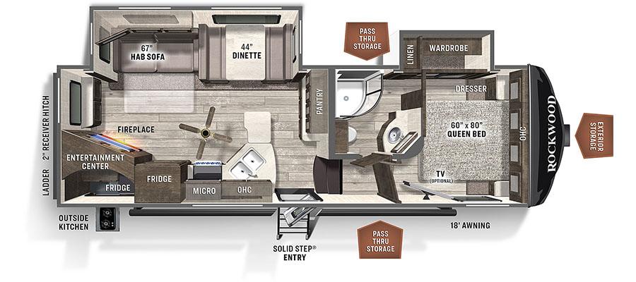 Rockwood Ultra Lite 2621WS floorplan image