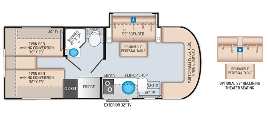 Siesta Sprinter 24ST floorplan image