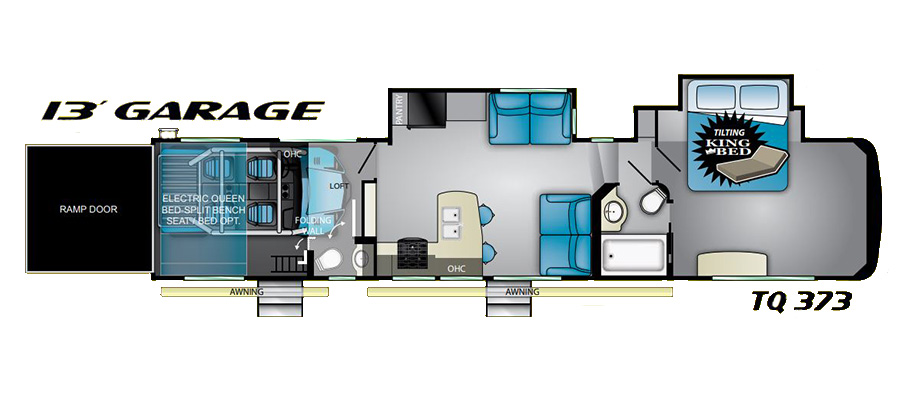 Click here to see the New 2020 Torque 373 Toy Hauler Fifth Wheel by Heartland at RVWholesalers.com