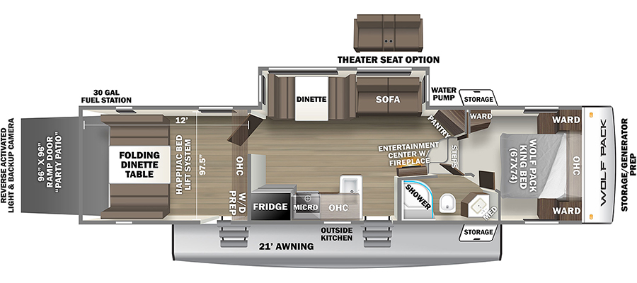 2022 Forest River Cherokee Wolf Pack 315Pack12 Toy Hauler Fifth Wheel: image 1