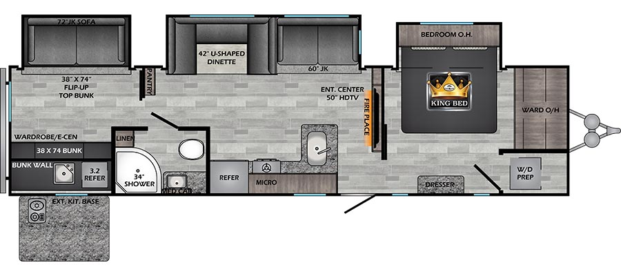 Click here to see the New 2021 Zinger 340BH Travel Trailer by Crossroads at RVWholesalers.com