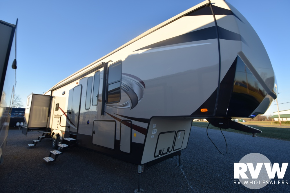 Click here to see the New 2018 Sandpiper 369SAQB Fifth Wheel by Forest River at RVWholesalers.com