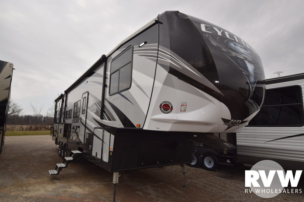 Click here to see the New 2018 Cyclone 4115 Toy Hauler Fifth Wheel by Heartland RV at RVWholesalers.com