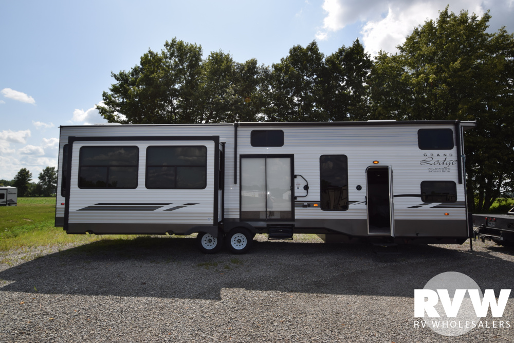 Click here to see the New 2020 Wildwood Grand Lodge 42DL Park Trailer by Forest River at RVWholesalers.com