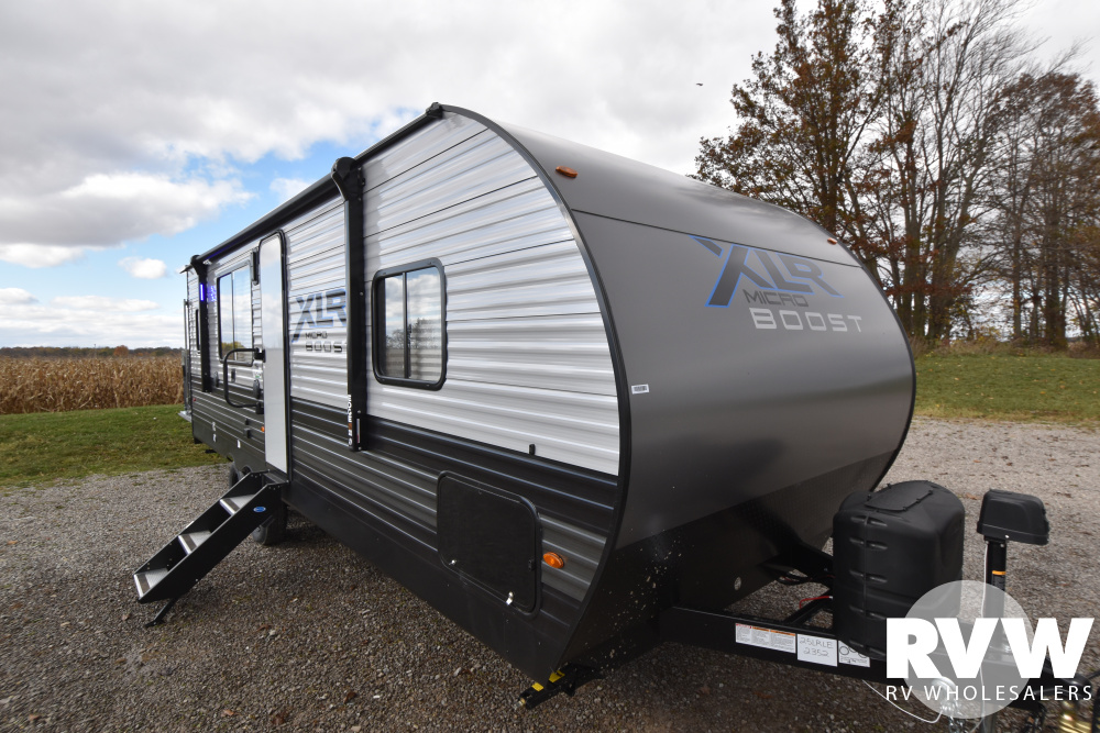 Click here to see the New 2021 XLR Micro Boost 25LRLE Toy Hauler Travel Trailer by Forest River at RVWholesalers.com